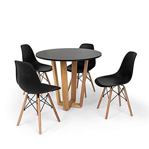 Conjunto Mesa de Jantar Lara 90cm Preta com 4 Cadeiras Charles Eames - Preta