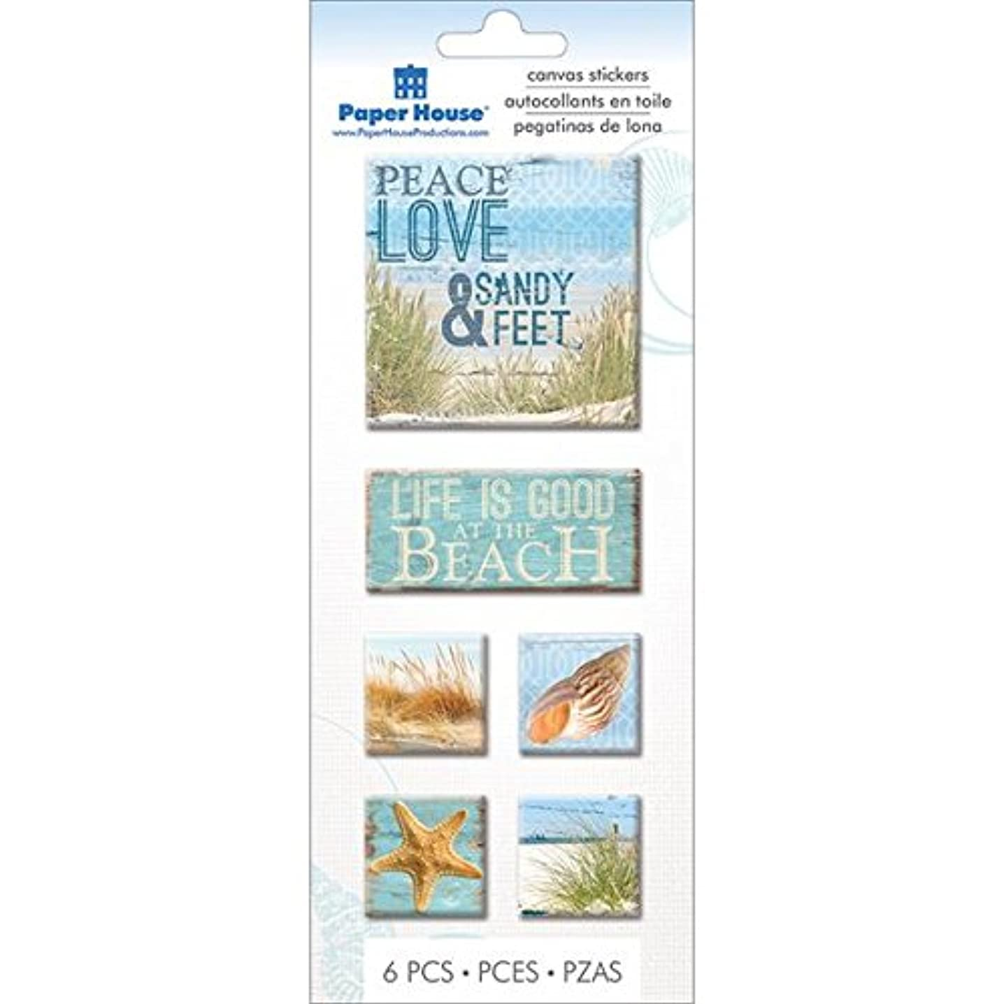 Paper House Productions STCA-0008E Canvas Stickers, Beach (3-Pack)