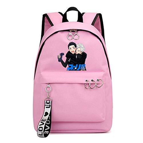 ZZGOO-LL Yuri!!! on Ice Mochila de Anime Backpack de Escuela Secundaria para Estudiantes para Mujeres/Hombres Pink