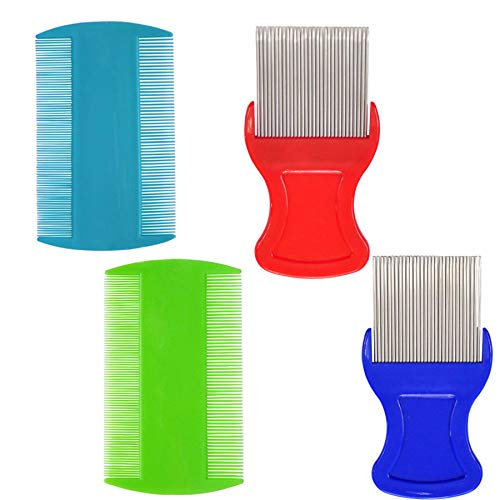 2 Pieces Hair Comb Double Sided, 2 Pieces Removing Dandruff Flakes with Metal Teeth