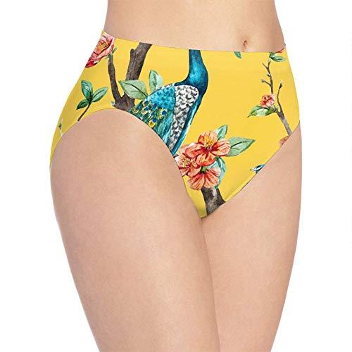 XCNGG Bragas Ropa Interior de Mujer 3D Print Soft Women's Underwear, Blue Peacocks Fashion Flirty Lady'S Panties Briefs Small