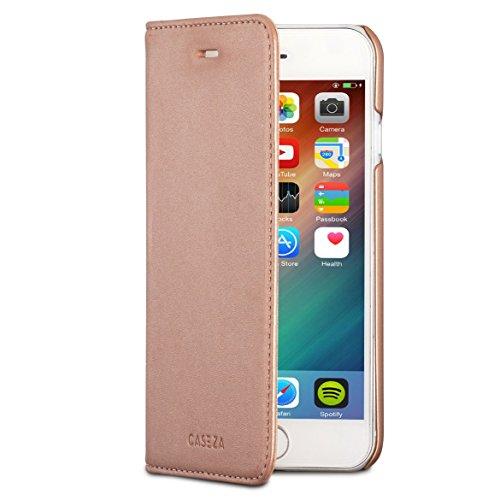 iPhone SE 2020 Leder Hülle/iPhone 8 / iPhone 7 Flip Case Kunstleder CASEZA Oslo Rose Gold - Ultra schlanke PU Ledertasche für das Original Apple iPhone (4.7) - Cover mit Magnetverschluss