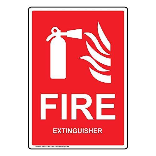 Verticale brandblusser bord met Engels Rood Metaal Blik Teken Aluminium Teken Poster Decor voor Home Bar Diner Pub