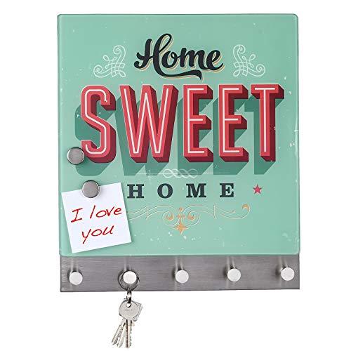 Quantio WENKO Schlüsselbrett Home Sweet Home - gehärtetes Glas/Edelstahl, magnetisch, inkl. 2 Magneten und 5 Haken, 30 x 34 x 4 cm (HxBxT), magnetische Garderobe