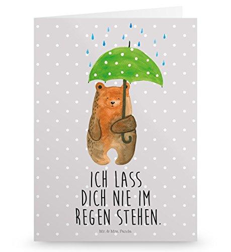 Mr. & Mrs. Panda Geburtstagskarte, Glückwunschkarte, Grußkarte Bär mit Regenschirm mit Spruch - Farbe Grau Pastell