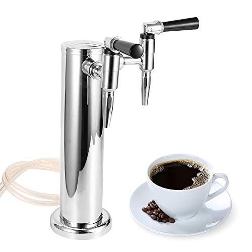 Bierzug Wasserhahn, Edelstahl Kaffee Bierzugturm mit Doppelhahn Brauzubehör für Home Bar