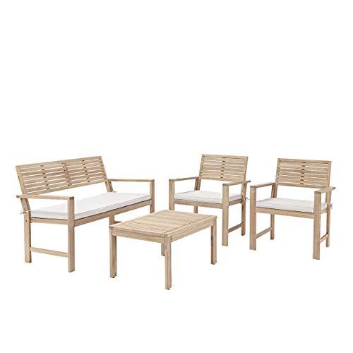 Naterial - Gartenmöbel Set Solis - 4 Personen Balkon Möbel Set - Sitzgruppe Garten - Akazie - Holz/Weiß