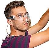 faceCare 2055 – Protezione della bocca in plastica riusabile, maschera protettiva naso-bocca in plexiglas lavabile con stanghette, protezione viso trasparente anche se porti occhiali non si appanna