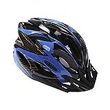 Deyiis Casque de vélo de ville, VTT, pour adulte homme et femme, réglable, avec visière amovible, bleu