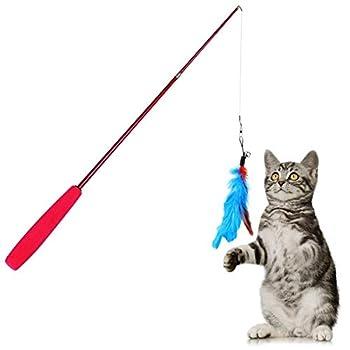yiqi Cat Plumes Jouet, Jouet pour Chat Wand, 8 Pcs Rétractable Interactive Cat Teaser Baguette Jouet Ensemble, Inclus 1 Wand et 7 Recharges Plumes