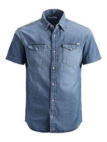 Jack & Jones Jjesheridan Shirt S/s STS Camisa, Denim Azul Medio, L para Hombre