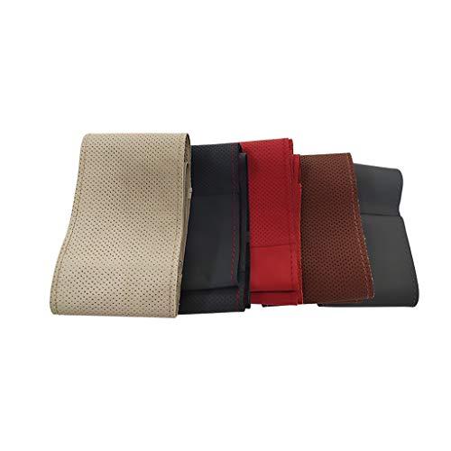 WYKDL YYDGQ Lenkradbezüge Leder Atmungsaktiv Hochwertig Ultra Komfortabel Einfach Zu Installieren Universalgröße 37-38 cm (Schwarz) Universalgröße 37-38 cm (Schwarz)-blackredleather