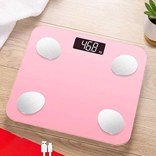 Básculas digitales electrónicas Báscula de baño digital inteligente Monitor de composición corporal Medición inteligente Báscula corporal pequeña de grasa Dormitorio femenino
