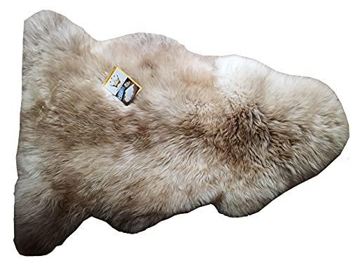 Reissner Lammfelle ungefärbtes naturbuntes Lammfell KOSA-90-MIKA, Länge 90cm+, milchkaffe beige