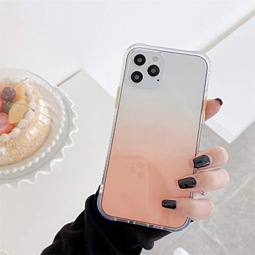 RUNNA para iPhone 12/12 Pro Gradient TPU + Funda Protectora de acrílico con Botones Desmontables (Color : Gradient Orange)