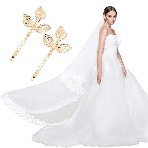 Velo de Novia, hicoosee Velo de boda 1.5m Borde de Encaje Bordado Exquisito Velo Elegante con Pinzas Para el Cabello Golden Leaf