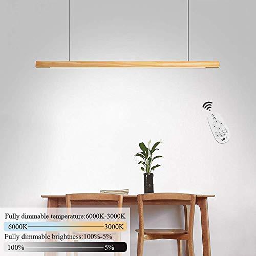 GBLY LED Esstisch Pendelleuchte Holz Dimmbar Pendellampe für Büro 120CM Moderne Hängeleuchte 18W LED Büroleuchte 150cm Höheverstellbar für Esszimmer Wohnzimmer Büro Arbeitszimmer