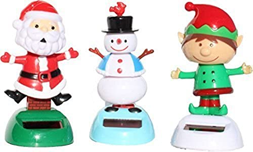 Christmas gift sets of 3 - 2014 Version 1 Snowman 1 Santa Claus 1 Elf Solar Powerot Bobble Head Toy by KT