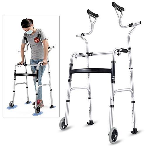Deambulatore Girello per Anziani Seniors Walker con supporto ascellare, stampella pieghevole in alluminio per carichi pesanti con ruote, supporto per persone alte Walker...