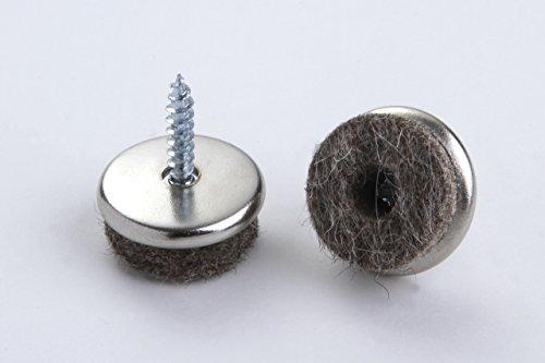 16 Stück Filzgleiter Stuhlbeingleiter Stuhlgleiter Möbelgleiter Bodenschutz mit Stift zum Schrauben Metall/Filz vernickelt Durchmesser 20 mm für glatte Böden