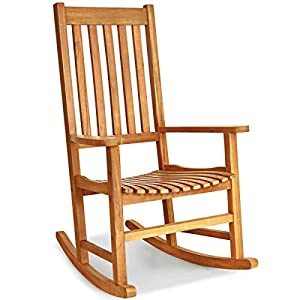 Wooden Rocking Chair Rocker High Back Garden Seat Indoor Outdoor Yard Teak-Rocking Chair-Rocking Chair for Nursery-Baby Rocker-Glider Rocker with Ottoman-Glider Rocker-Rocker Recliner