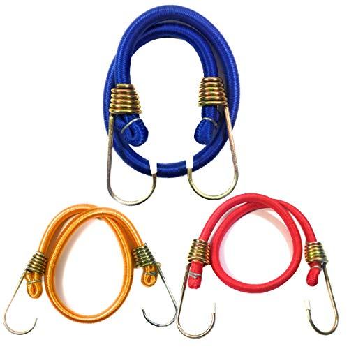 Sitaraz 3 x strapazierfähiges elastisches Bungee-Seil, 61 cm, Reise-Gepäck, Autodach, Stretchseil (3er-Pack)