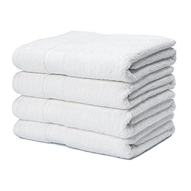 700 GSM Premium Bath Towels Set of 4 - 100% Cotton, Super Soft, Ultra Absorbent (30  X 52 ) (White)