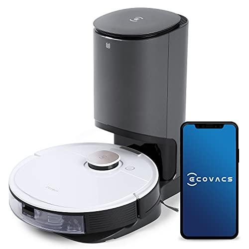ECOVACS DEEBOT OZMO T8+ Aspirapolvere Robot con Funzione Mopping e Stazione di Aspirazione Automatica, Navigazione 3D Intelligente, Rilevamento degli Ostacoli, Controllo Google Home, Alexa e App