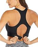 Ewedoos Sports Bras High Support Racerback Workout Bras for Gym(BR01 Black, M)