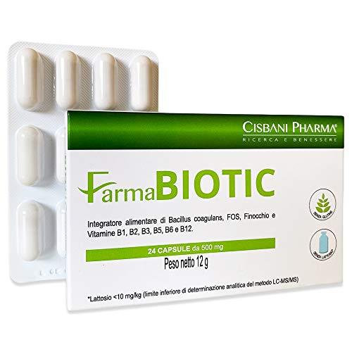 Farmabiotic, Fermenti Lattici Probiotici e Prebiotici, 20 miliardi di UFC per dose giornaliera | 24 capsule | con FINOCCHIO e VITAMINE B | Protegge la flora intestinale, fermenti lattici probiotici
