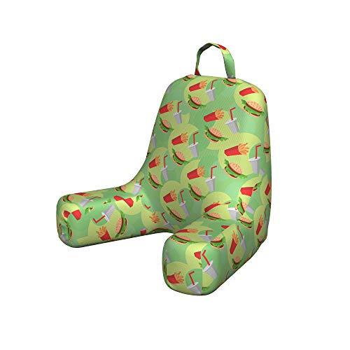 Lunarable Food Reading Pillow, Hamburger French Fries and Drink Pattern on an Abstract Colorful Circles Background, Bedrest Cushion with Back Pocket and Washable Cover, Small, Light Green