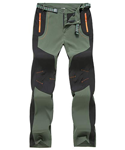 donhobo Wanderhose Herren Schnell Trockend Outdoor Hose Wasserdicht Winddicht Funktionshose Trekkinghose (Grün, 32)