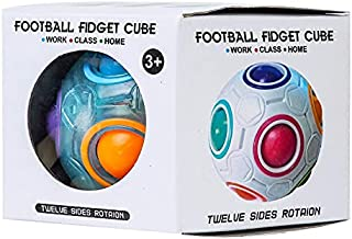 Kids football magic Rainbow 12 Holes Fun Educational Fidget Sensory Cube Puzzle ball toys for Kids and Adults (Colorful(wi...