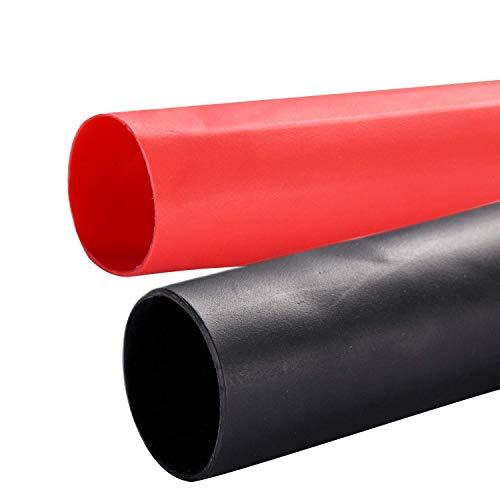 Yizerel Schrumpfschlauch, 19,1 mm, selbstklebend, 1,2 m, Schwarz / Rot, 2 Stück