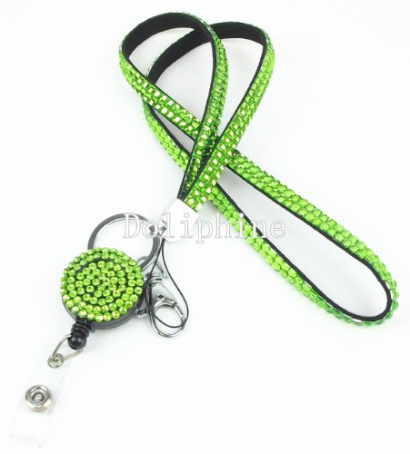 Multi-Colored Rhinestone ID Badge Tag Key Glass Retractable Reel Neck LANYARDs (Lime Green)