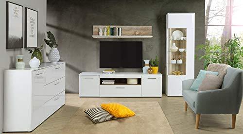 furniture24_eu Wohnzimmer Set BABILA Wohnwand Vitrine Tv Schrank Sideboard Wandregal