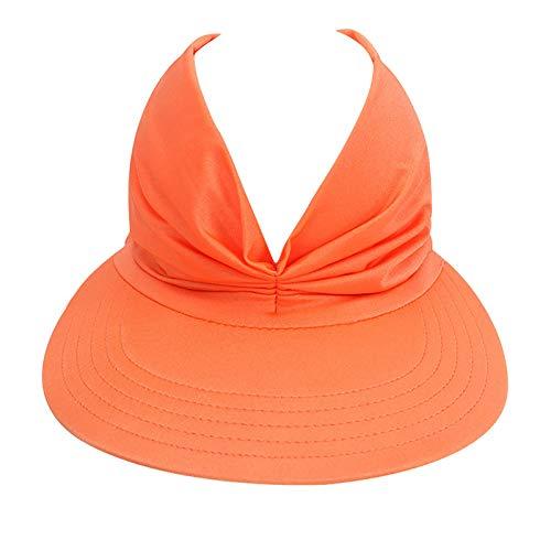 Solid Color Sun Hats for Women Anti-Ultraviolet Visor Beach Hat Wide Brim Elastic Hollow Top Summer Hat