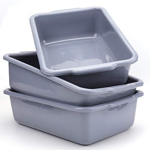 Bekith 3 Pack Plastic Dish Tubs 13L Commercial Bus Box Wash Tub Basin Tote Box Grey