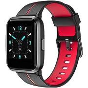 AIKELA Smartwatch,Fitness Armband mit Blutdruck Messgeräte Pulsoximeter schrittzähler pulsuhr,Fitness Tracker 5ATM Wasserdicht Fitness Uhr,smartwatch Damen Herren iOS Android(rot)