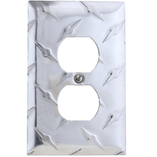 AMERELLE 955D Diamond Stamped Aluminum Wall Plate, 1 Duplex Outlet