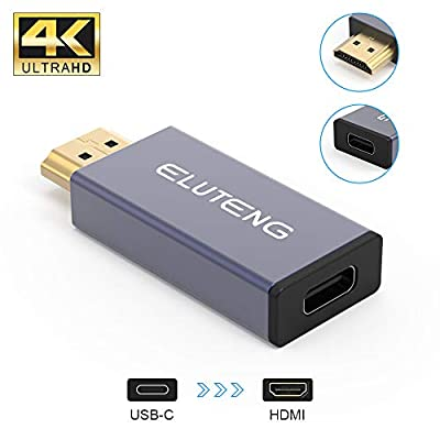 ELUTENG USB C Female to HDMI Male Adapter, 4K 60HZ Mini USB C to HDMI Adaptor (Thunderbolt 3 Compatible) 10Gbp / s Speed USB C to HDMI Converter Connector for Type-C PC, Mobile Phone and Tablet