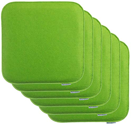 Brandsseller - Cojín de fieltro para silla, 35 x 35 x 2 cm, 100% poliéster, verde, 6er-Vorteilspack