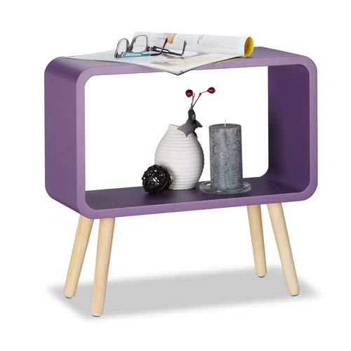 Relaxdays staand rek klein HxBxD: 50 x 53 x 20 cm, nachtkastje zonder lade, MDF houten rek voor kinderkamer, violet