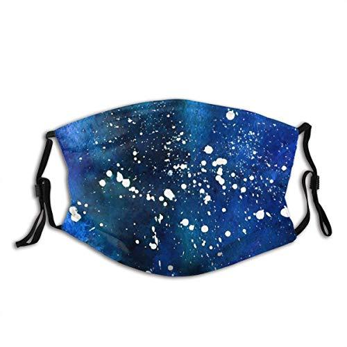 Wiederverwendbares Halbtuch-Kopftuch, Aquarell-kosmischer Grunge-Hintergrund Indigoblau mit weißen Spritzern, Verstellbarer Sportmund Mas-Ke