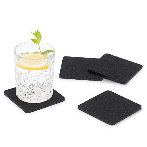 FILU Filzuntersetzer eckig 8er Pack (Farbe wählbar) schwarz - Untersetzer aus Filz für Tisch und Bar als Glasuntersetzer/Getränkeuntersetzer für Glas und Gläser rechteckig viereckig