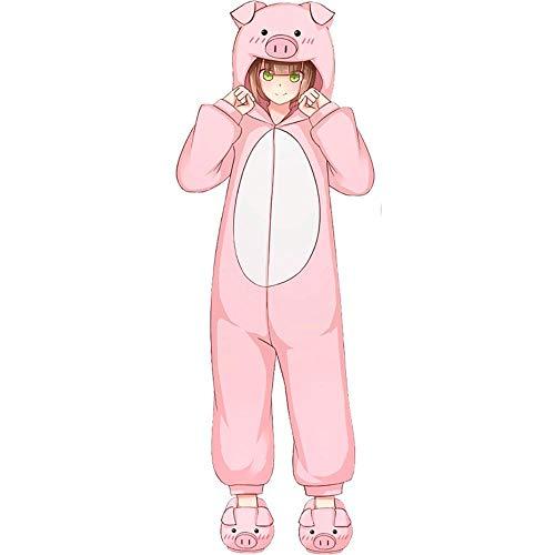 SUMHOM Pijama de una Pieza de Cerdito Rosa, Dibujos Animados Anime Animal Femenino otoño e Invierno Ropa de hogar de Manga Larga-Rosado_XL [170-180 cm]