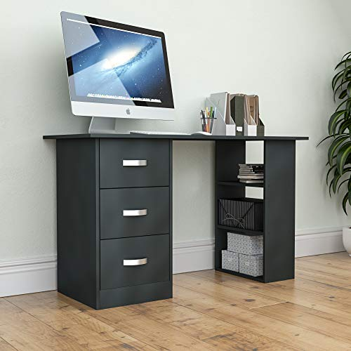 Vida Designs Mason Computer Desk with Shelves and 3 Drawers, Home Office PC/Laptop Gaming Table, Study Workstation, Furniture Black