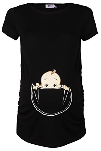 Happy Mama. Damen Baby in der Tasche T-Shirt Top Oberteil für Schwangere. 501p (Schwarz, 38-40, M)