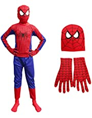 ITSMYCOSTUME Spiderman Halloween Superhero Costume Set of 3 (Costume,Gloves,Mask) for Kids Fancy Dress Costume