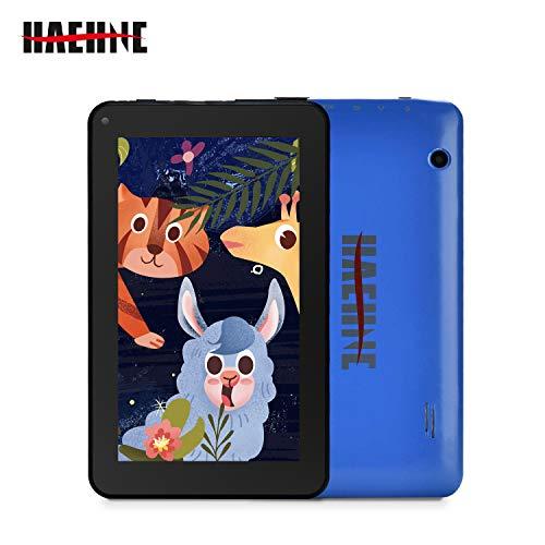 Haehne 7 Pollici Tablet PC, Android 9.0 GMS, 1024x600 HD, Quad Core 1GB RAM 16GB ROM, Doppia Fotocamera, WiFi, Bluetooth, Per Bambini e Adulti, Azzurro